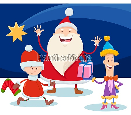 christmas design with cartoon santa claus