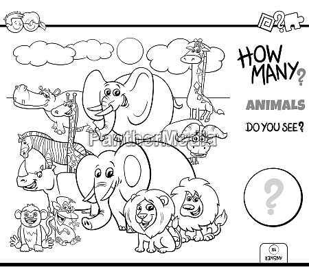 counting wild animals educational task color