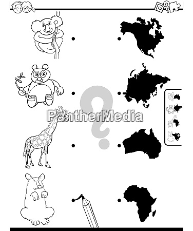 match animals and continents game color