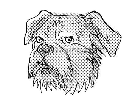 brussels griffon dog breed cartoon retro