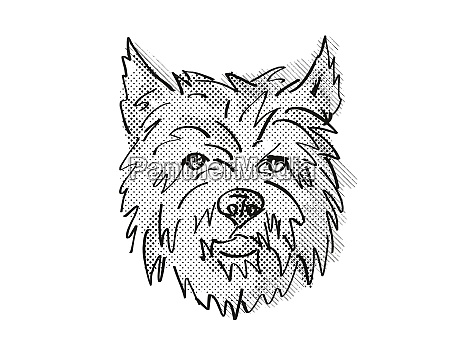 cairn terrier dog breed cartoon retro