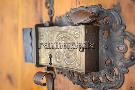 church portal with old door lock