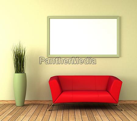 single red sofa