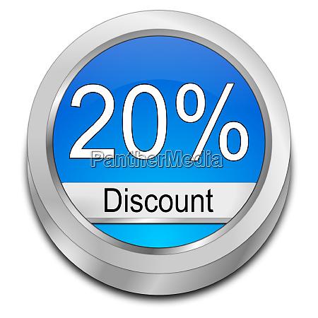 blue 20 discount button 3d