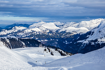 snowy alpine ski slopes flaine