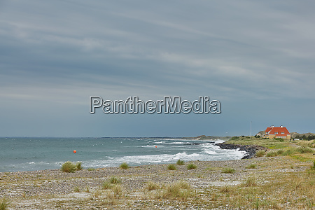 seaside and landscape near town of