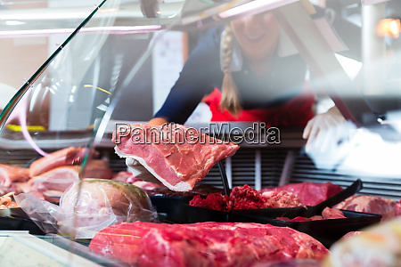 meat in a butcher shop display