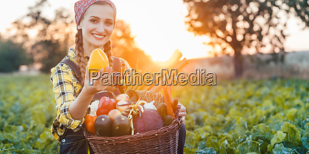 farmer woman selling colorful and healthy