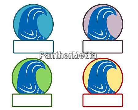 emblem mit tsunamisymbol und textfreiraum