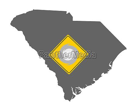 karte von south carolina mit verkehrsschild