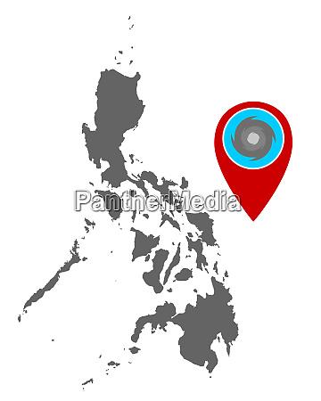 karte der philippinen und pin mit