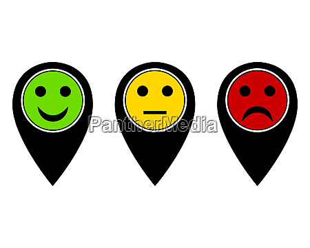 pins in unterschiedlichen farben mit smilies