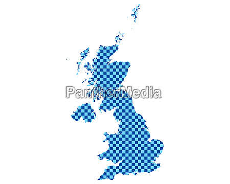map of great britain in checkerboard