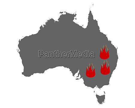 karte von australien und feuersymbol
