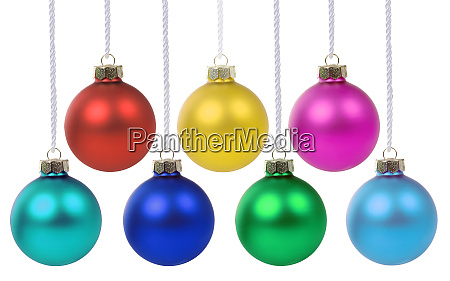 christmas balls baubles hanging collection isolated