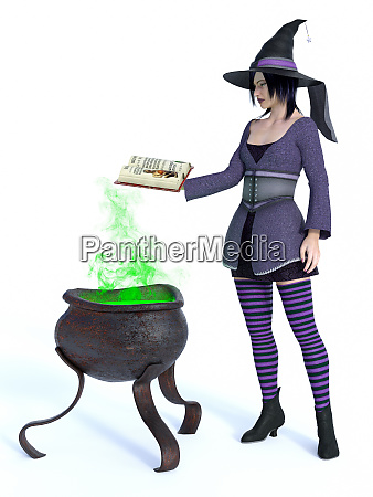 3d rendering of witch with cauldron