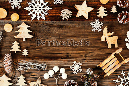wooden background frame of christmas decoration