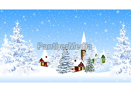 snow-covered, village, and, forest, winter - 27402766