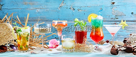 large variety of tropical cocktails in