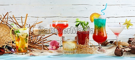 panorama banner of colorful summer cocktails