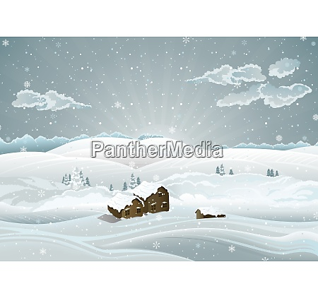 christmas wintry landscape with sunrise