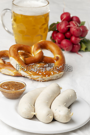 bavarian white sausage with pretzel