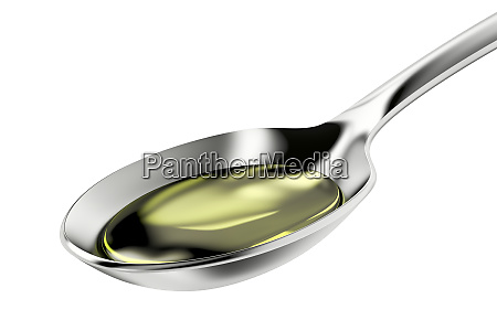 silver spoon with olive oil
