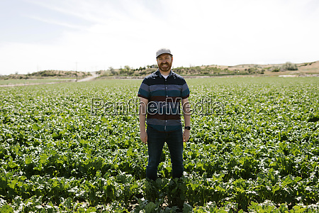 smiling mid adult man in crop