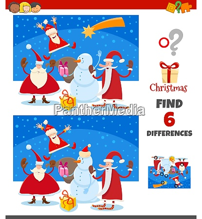 differences game with happy santa claus