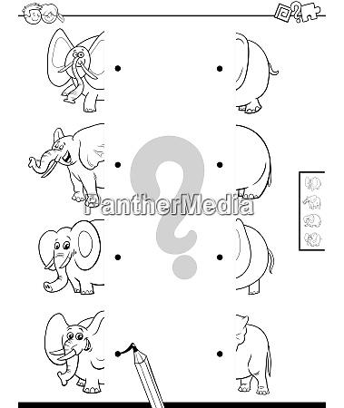 match halves of elephants game color