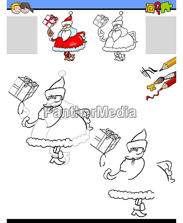 drawing and coloring worksheet with santa