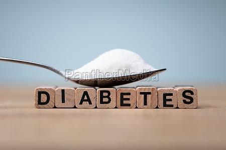 diabetes word near spoon of sugar