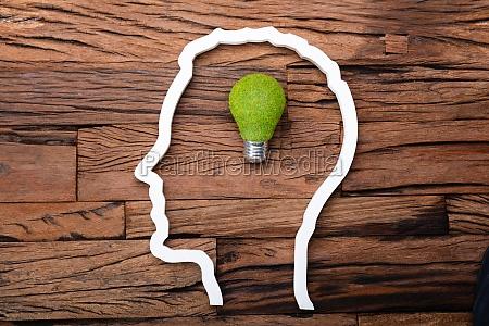lightbulb idea inside head silhouette