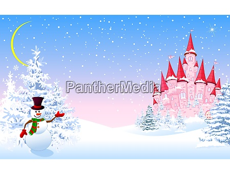 pink castle winter forest night
