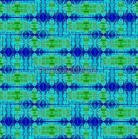 seamless intricate pattern green blue
