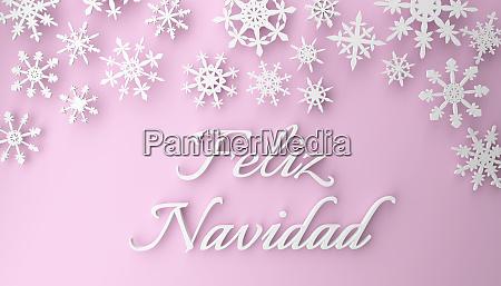spanish christmas feliz navidad with snowflakes