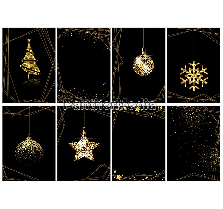 set of christmas gold luxury greeting