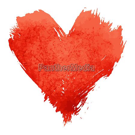 red watercolor painted heart shape on