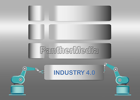 metal labels infographic of industry 40