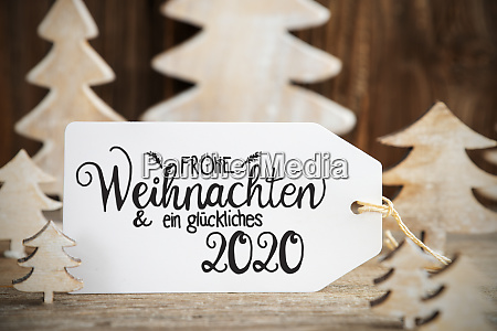 white christmas tree label glueckliches 2020