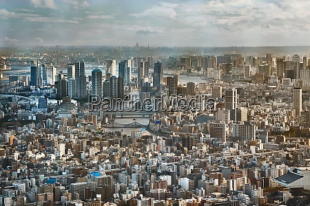 tokyo downtown view from high above