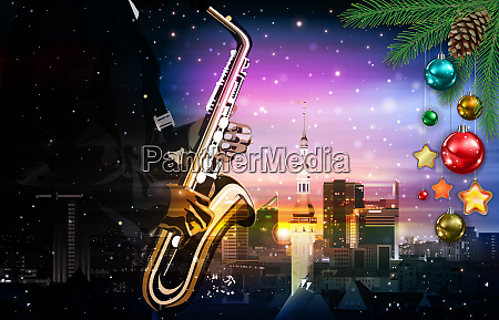 christmas green music illustration with saxophone