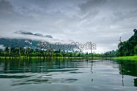 misty morning on cheow lan lake