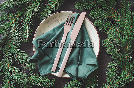 christmas festive table setting in rustic