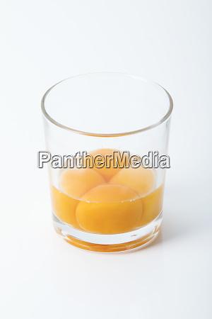 four egg yolk in a glass