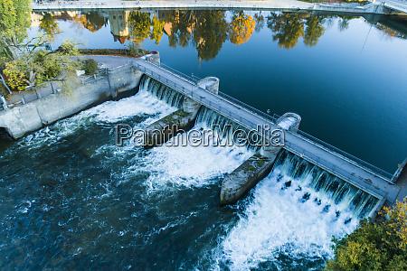 landshut aerial view isar dam