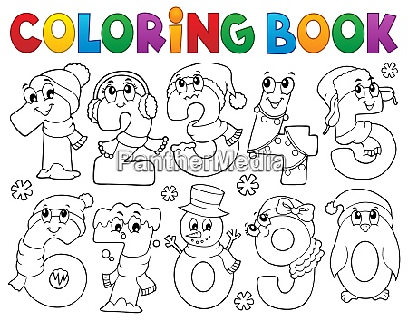 coloring book winter numbers set 1