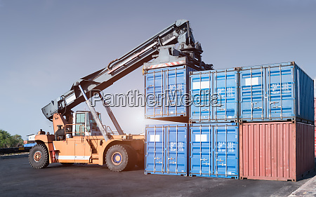 cargo forklift handling container