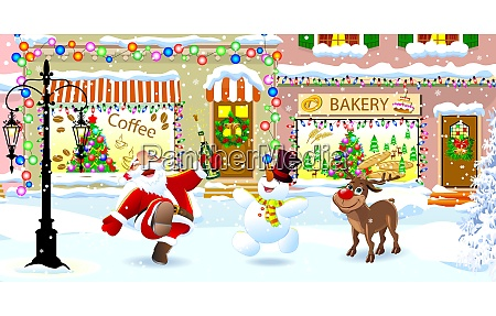 santa claus deer and snowman on