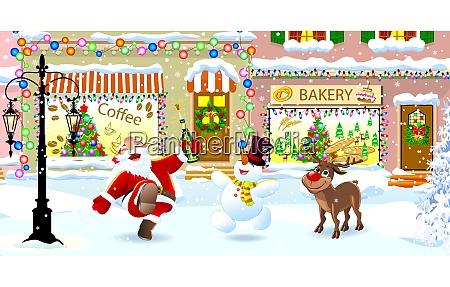 santa claus deer and snowman on